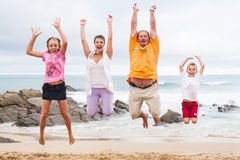 Happy Family by the ocean Stock Image