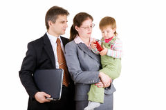 Happy family in office Stock Image