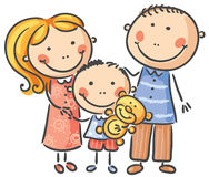 Happy family with one child. Isolated on white Royalty Free Stock Photo