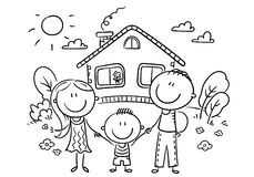 Happy family with one child near their house, black and white vector illustration