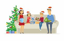 Happy family open Christmas presents - cartoon people characters illustration Royalty Free Stock Photos