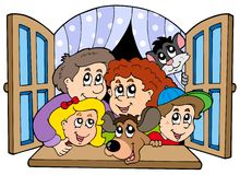 Happy family in open window Stock Images
