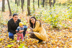 Happy family outdoor in autumn Stock Photography