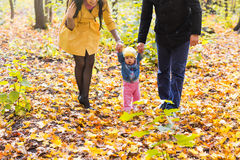 Happy family outdoor in autumn Royalty Free Stock Image