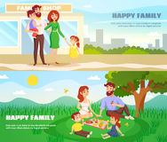 Happy Family Outdoor Horizontal Banners Stock Photo