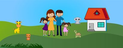Happy family outdoor near cute house royalty free illustration