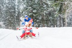 Happy family outdoor in winter Stock Images