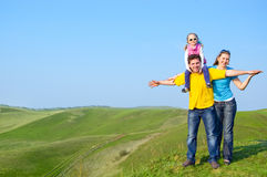 Happy family outdoors Stock Images