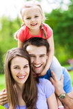 Happy family outdoors royalty free stock photo
