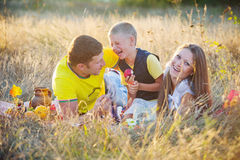 Happy family outdoors in the meadow Royalty Free Stock Images