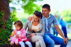 Happy family outdoors Stock Image