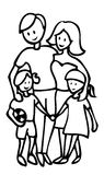 Happy family outline illustration Royalty Free Stock Images