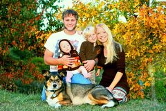 Happy Family Outside in Autumn royalty free stock images