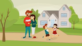 Happy family outside house flat poster royalty free illustration