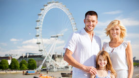 Happy family over london in summer Stock Images