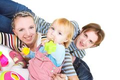 Happy family over white Stock Photo
