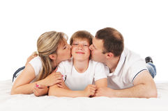 Happy family  over white Stock Image