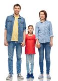 Happy family over white background royalty free stock photography