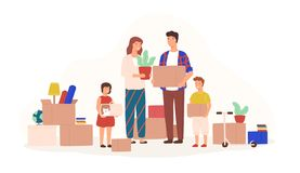 Happy family packing stuff to move to new house or apartment. Mother, father, son and daughter holding boxes, carriage. With cat and houseplant. Colorful vector stock illustration
