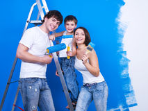 Happy family with paintbrush Royalty Free Stock Image