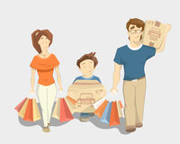 Happy family with paperbags shopping bags vector illustration