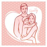 Happy family, parents with child. Vector illustration. Stock Image