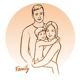 Happy family, parents with child. Vector illustration. Royalty Free Stock Photos