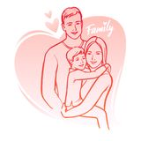 Happy family, parents with child. Vector illustration. Stock Photography