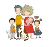 A happy family. Parents with children. Cute cartoon dad, mom, daughter, son and baby. stock illustration