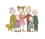 Happy family. Parents with children. Cute cartoon dad, mom, daughter, son and baby. grandmother and grandfather. Funny vector illustration