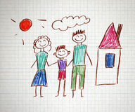 Happy family. Happy parents and children naive kids drawing Royalty Free Stock Image