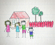 Happy family. Happy parents and children naive kids drawing Royalty Free Stock Images