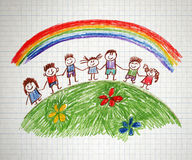 Happy family. Happy parents and children naive kids drawing Royalty Free Stock Photos