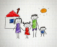 Happy family. Happy parents and children naive kids drawing Royalty Free Stock Photo