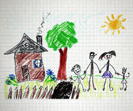 Happy family. Happy parents and children naive kids drawing Stock Images
