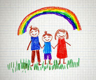 Happy family. Happy parents and children naive kids drawing Stock Photography