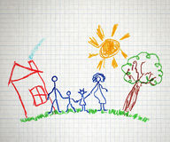 Happy family. Happy parents and children naive kids drawing Stock Photos