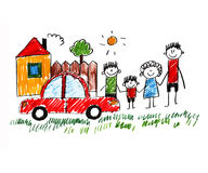 Happy family. Happy parents and children. Naive kids drawing Stock Photos
