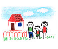 Happy family. Happy parents and children. Naive kids drawing Stock Photography