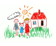 Happy family. Happy parents and children. Naive kids drawing Royalty Free Stock Photography