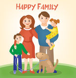 Happy Family - Parents with Kids and Dog Royalty Free Stock Images