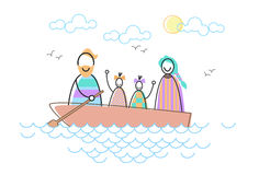 Happy Family Parents Two Children In Boat. Vector Illustration Stock Image