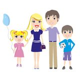 Happy family. Parents with two children boy and girl. Cartoon vector colorful illustration in flat design isolated on white background Stock Photo