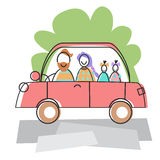 Happy Family Parents Two Children Car Drive Travel Royalty Free Stock Image