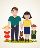 Happy Family Parents with Two Children and Dog Royalty Free Stock Photos