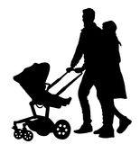 Happy family, parents walking outdoor with baby and pram, vector silhouette. Happy family, parents walking outdoor with baby and pram, vector silhouette Stock Photos