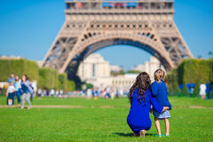 Happy family in Paris background Eiffel on french Royalty Free Stock Photos
