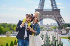 Happy family in Paris Stock Images