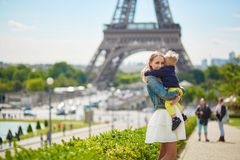 Happy family in Paris Stock Photography
