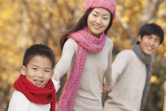 Happy Family in the Park in Autumn Stock Image